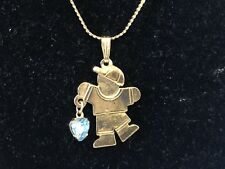 Vintage Boy Birthstone Gold Tone Necklace