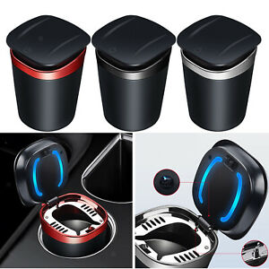 Car Ashtray Smell Proof Blue LED Cool Light Cup Holder Washable for Home