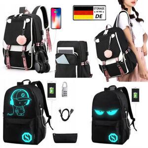 Damen Herren Rucksack Laptop Schulrucksack Teenager Schulranzen tasche mit USB