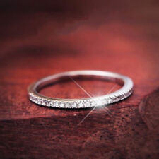 925 Silver Women Wedding Party Ultra-fine Tail Ring Engagement Band Size 7+Gift