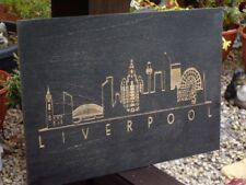 City of Liverpool Skyline Laser engraved wall art wood or mirror finish free P&P