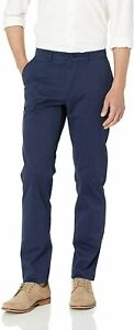 Lacoste Mens Pants Blue Size 34X32 Regular Fit Flat Chino Stretch $89- #137