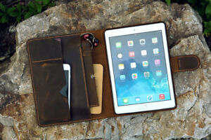 Vintage distressed leather iPad stand cover organizer for iPad Pro 11 10.5 12.9