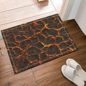 Orange lava and black land 71x71 Inch Waterproof Fabric Shower Curtain & Hooks