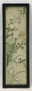Antique Vintage Chinese Hand Embroidered Silk Hummingbird Flowers Textile Panel
