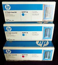 HP Q3971A x 2 Cyan + Q3973A x 1 Magenta = 3 Toners AS SHOWN - LJ 2550  GENUINE