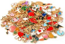 8 Enamel Gold Charms Mixed Pendants Findings Grab Bag Set Assorted Lot Mix