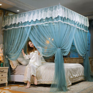 mosquito net bed curtain valances lace four corner netting with tubes summer new