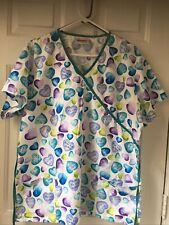 2 Piece Scrub Set L Blue Pants, Xl White Hearts Top by Jasco Uniform