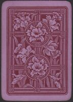 Playing Cards Single Card Old Antique Wide Non Rev. PURPLE DAFFODIL FLOWERS Art