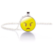 Angry Emoji Crystal Glass Pendant Necklace Jewelry Gift Bag- Silver