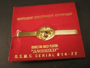 -USMC Marine Corps Gold Plated Vintage Tie Bar Clip military Serial #14-77