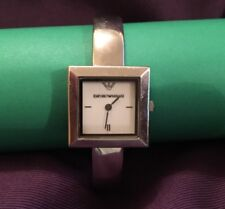 370b2093b25 Emporio Armani AR0703 Ladies silver bangle watch with small square face