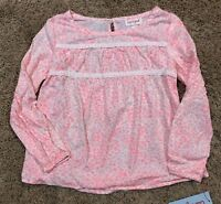 NWT Girls Moxie Peach Long Sleeve Cat & Jack Blouse Top Large 10/12