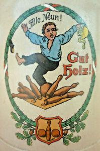 Bierkrug Kegelkrug, Kegeln, Kegler, Jugendstil Alle Neun Krug      (Art.5264)