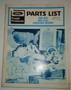 1981 Ford 300 CID Gasoline Engine Parts Catalog Manual Book Original!