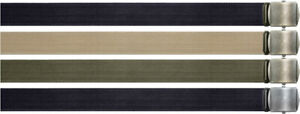 """Military Cotton Web Belt with Vintage Style Buckle - 54"""" Long (1.5"""" Wide)"""