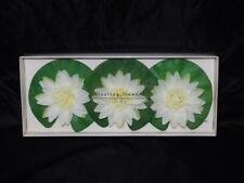 Pier 1 Set 3 Floating Flowers White Green Lily Pad For Pools Ponds Spa Fountains