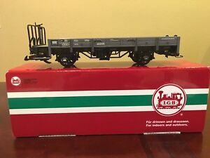 LGB 40230 Low Side Trolley Flat Car With Pipe Load (2 planks high)