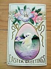 Early 1900s Easter Greetings Framed Chick Lily Flowers Embossed Postcard Posted
