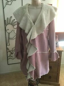 The look by Randolph Duke Ruffle Faux Suede/ Shearling Jacket M NWOT!