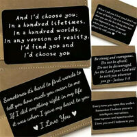 US-Custom Engraved Custom Metal Wallet Card Mini Love Note Gift For Him