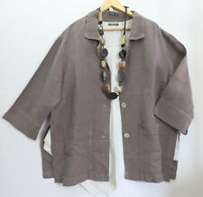 OSKA SIZE 2, UP TO 20 UK, TAUPE 100% Linen Jacket FRONT POCKETS LAGENLOOK ARTY