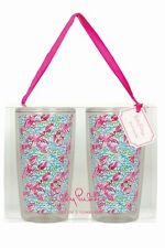 LILLY PULITZER Insulated Tumbler Set of 2 LOBSTAH ROLL Reusable Acrylic 16 oz