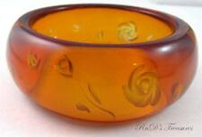 """Vintage Orange Amber Apple Juice Floral Reversed Carved Bangle Bracelet 2 1/2"""""""