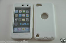 White Hybrid Plastic &Gel ULTRA Protective Armor Case Screen Guard iPod Touch 5