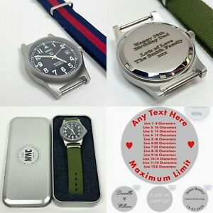 Personalised Bespoke MWC Military Watch Army 50M Engraved Wristwatch Any Text