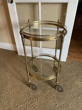 Vintage Brass Tea Cart Bar trolley Modern Deco Italy? France? Hollywood Regency