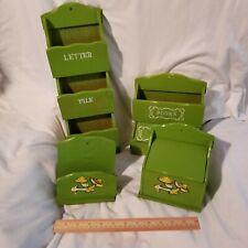 vtg wood 3 slot wall mail sorter letter bill rack napkin stamps mushroom lot