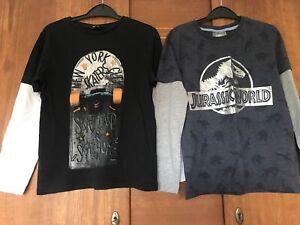 2x Boys Long Sleeves T Shirt Top 8-9 Years