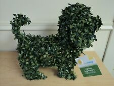 """Lighted 16"""" Dog Garden Topiary Battery with Timer Artificial Greenery NWT"""