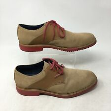 Cole Haan Oxford Formal Dress Shoes Lace Up Round Toe Suede Tan Red Mens 10 M