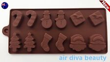 AU Christmas Santa Chocolate Cake ice Cube Cookie Silicone Mold Mould Decorating