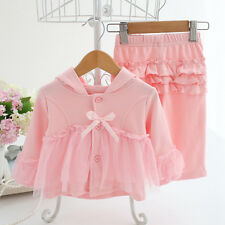 Kid Newborn infant baby Girl Clothes 100% cotton hoodie tops+pants party clothes