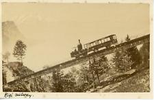 Switzerland, rigi, oldest train mountain in Europe vintage albumen print,