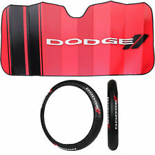 2pc Dodge Elite Black Steering Wheel Cover & Sun Shade Car Truck Suv Universal