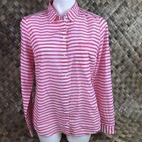 Ann Taylor Loft  M Medium Pink White Stripe Summer Button Front Blouse Shirt