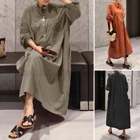 ZANZEA Women Long Sleeve Button Down Long Shirt Dress Casual Loose Midi Sundress