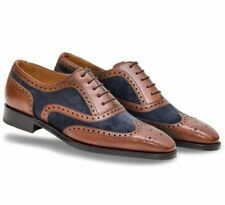 New Handmade Men Sensational Italian Suede & Leather Shoes, los zapatos de cuero
