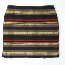 BANANA REPUBLIC Brown Gold Orange Striped Pencil Skirt Womens Size 4