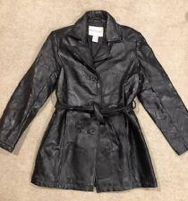 RAREWhite Stag Black 100% Leather Jacket Coat Black Patches Design Together Sz M