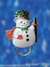 NEW Rhinestone Christmas Snowman Glasses / Spectacle Hanger Brooch Pin Holder