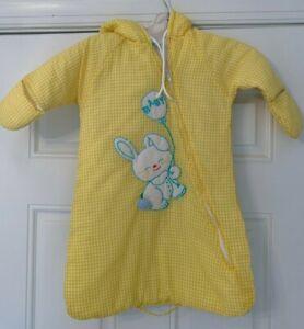 VINTAGE 1960s 1970s Baby Bunting Bag Yellow Gingham Easter Bunny SLEEP BAG