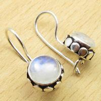"925 Silver Plated Fiery Rainbow Moonstone TRADITIONAL Dangle Earrings 0.8"" NEW"
