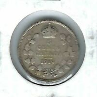 1919 Canadian Circulated  George V Silver Five Cent Coin!
