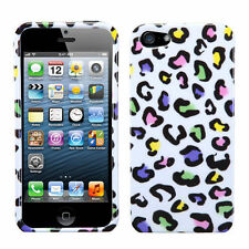 For Apple iPhone 5 5S SE HARD Case Snap On Phone Cover White Rainbow Leopard